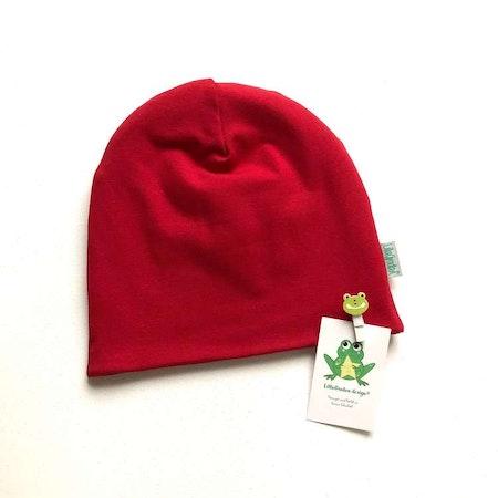 mössa - Enfärgat Röd #M549, ekologisk trikå