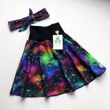 Klockad kjol Rymdexplosion Neon, midjemudd i Svart