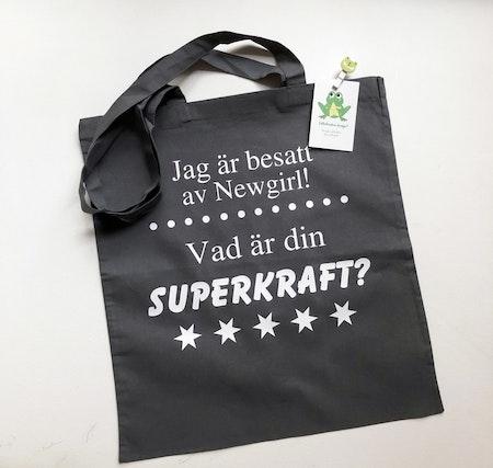 Tygkasse Grafitgrå text: Jag är... Vad är din SUPERKRAFT?, vinyl Vit