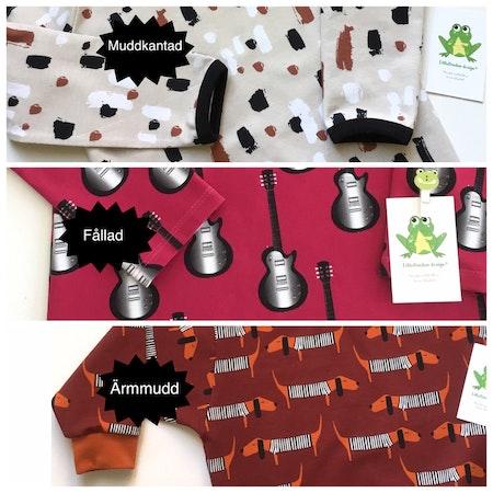 Översikt över olika valbara ärmslut, body/tröja med kuvertringning