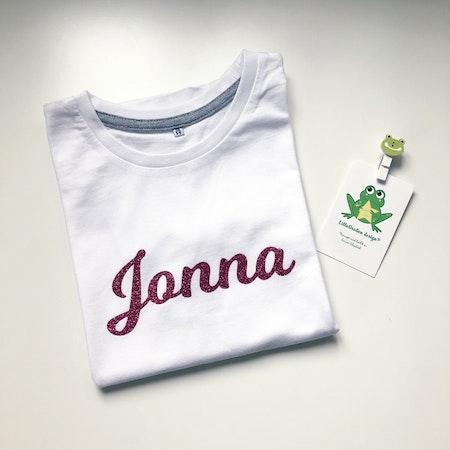 Tshirt med namn Jonna, rosa glittervinyl , strl 110/116 - FyndHörnan