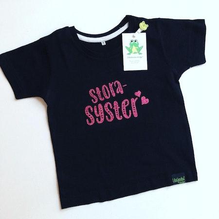 T-shirt Storasyster, svart med Glitter Rosa