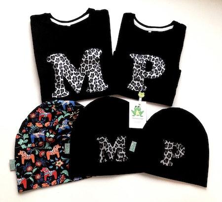 Tshirts med bokstav, vinyl Leopard Silvermetallic, typsnitt 1