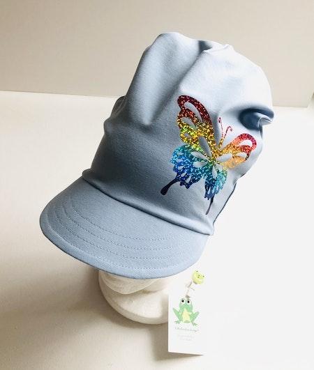 Motivmeps, Enfärgat ljusblå med vinyl Multiskimmer, motiv nr 4 fjäril