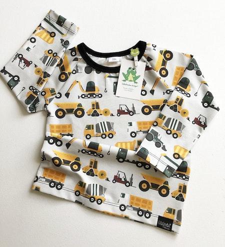 T-shirt tyg Arbetsfordon, Mörk tegel, svart muddning, fållad ärm