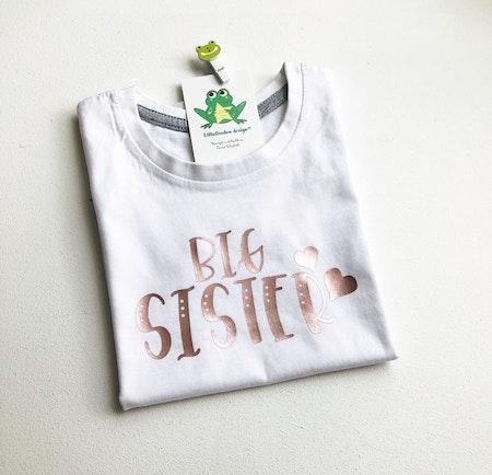 Tshirt Big Sister i Guld Rosé