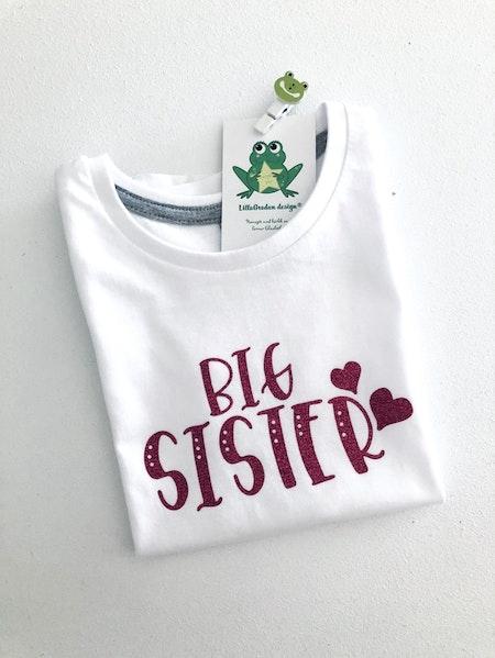 Tshirt Big Sister i rosa glittervinyl