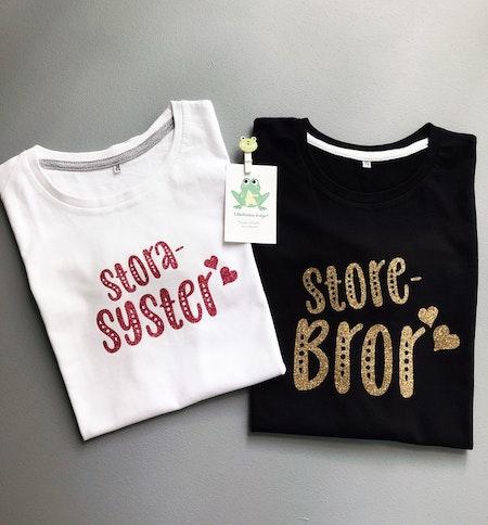 T-shirt storasyster/storebror, glittervinyl i rosa resp guld