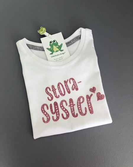 T-shirt storasyster, vit med Glitter GuldRosé
