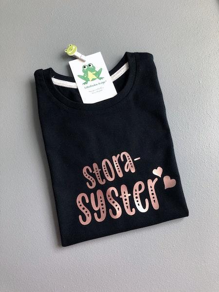 T-shirt Storasyster, svart med vinyl i Guld Rosé