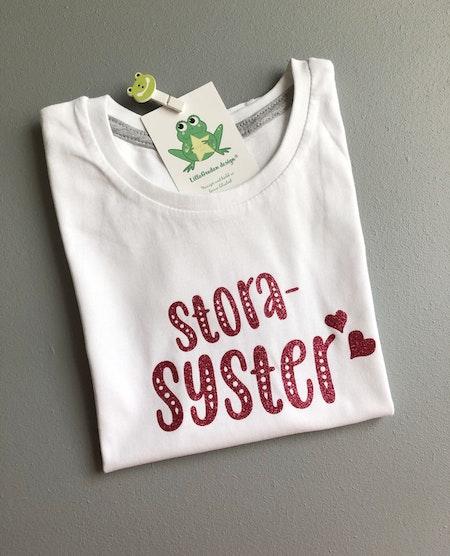 T-shirt Storasyster, vit med Glitter Rosa