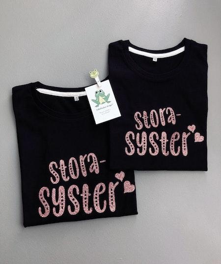 T-shirt storasyster, svart med Glitter GuldRosé