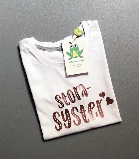 T-shirt Storasyster, vit med vinyl i Guld Rosé