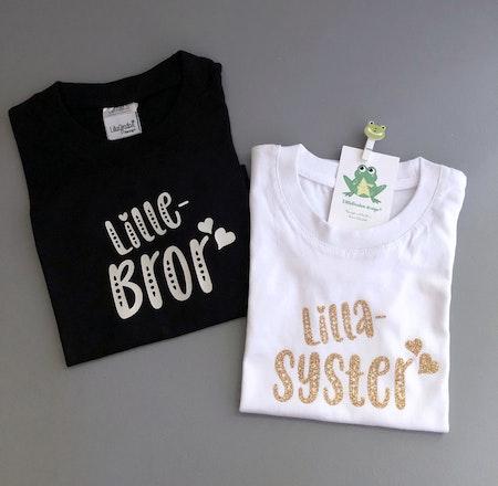 T-shirt Lillebror och Lillasyster, silvervinyl resp guldglitter