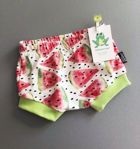 Bummies i tyg Vattenmelon med benmudd Äppelgrön