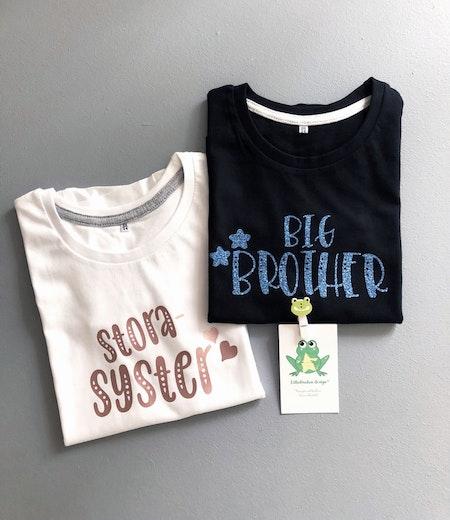 T-shirt Big Brother, svart, blå glittervinyl och storasyster,vit med vinyl GuldRosé