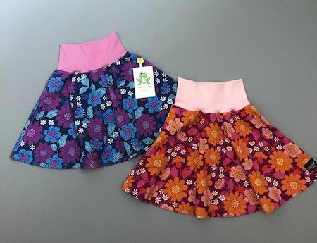 Klockad kjol i tyg Blomster Florens Lila & Cerise