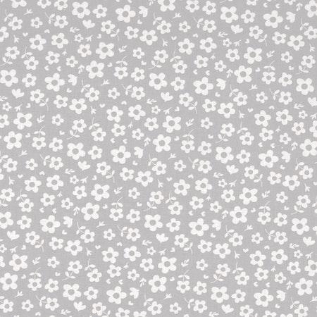 Tyg till Solhatt/Beppehatt med blommotiv - Flora, Grå #S44