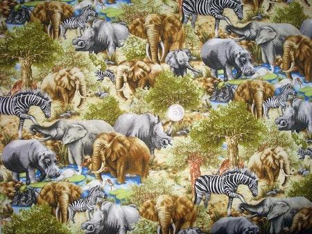 Solhatt/Beppehatt med vilda djur, tyg Savannen #S49