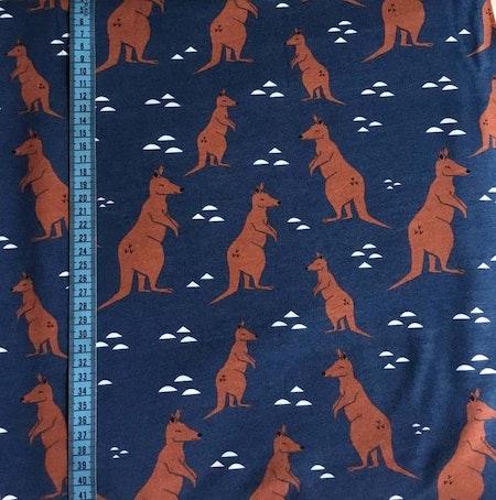 Tygbild Känguru, Mörkblå #481, ekotyg GOTS
