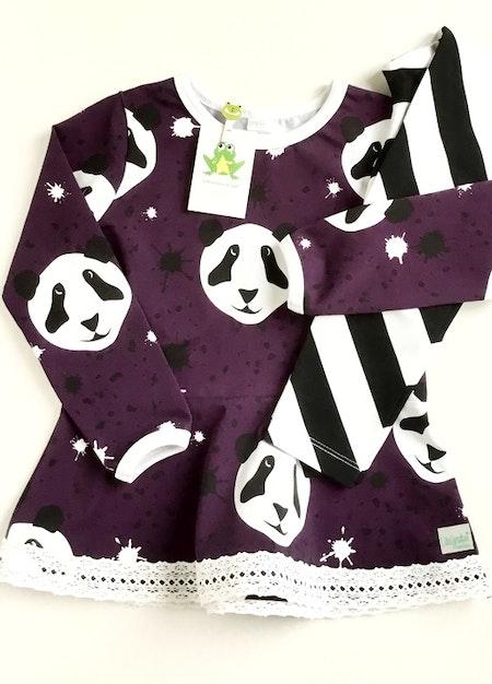 Peplumtop - Splat! Panda, Lila #PE505, eko GOTS.