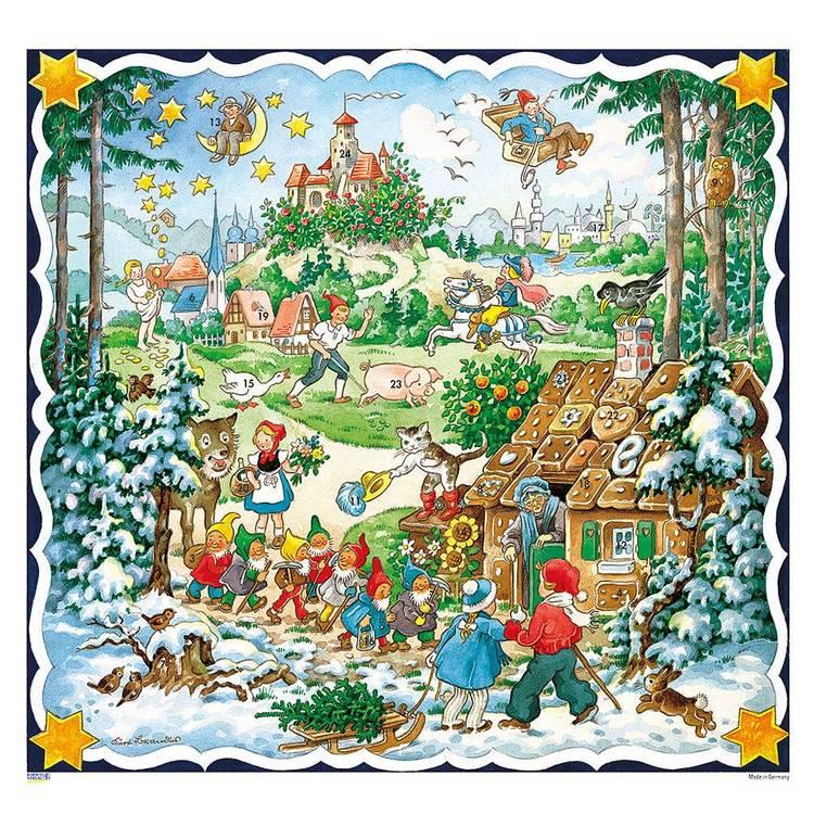 Större fyrkantiga Adventskalender med sagomotiv - Hans och Greta med glitter