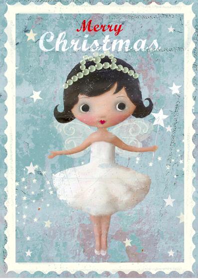 Förpackning med vackra kort med kuvert - Änglalik jul
