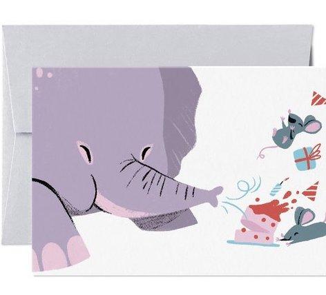 Dubbelt kort med kuvert -Blåsa ut ljusen (Fraktfritt)
