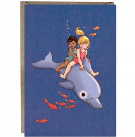 Kort med kuvert - Delfinvänner (Fraktfritt)