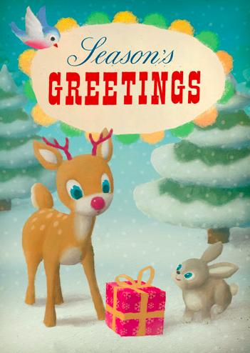 Kort med kuvert - Jul i skogen (glitter) (Fraktfritt)