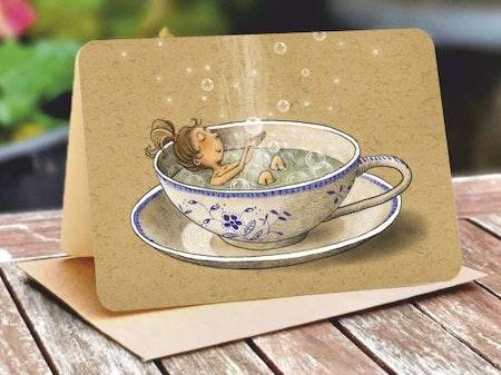 Kort med kuvert - Bad i tekopp (Fraktfritt)