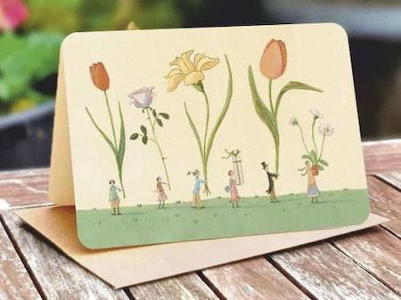 Kort med kuvert - Parad med vårblomster (Fraktfritt)