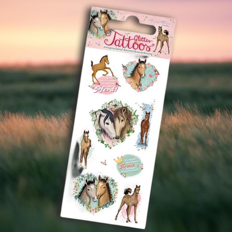 Tatueringar - Hästar med glitter (Fraktfritt)