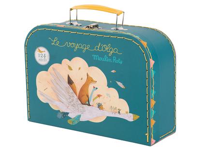 Vackert pussel 'Le Voyage d'Olga' i väska (124 bitar) från Moulin Roty