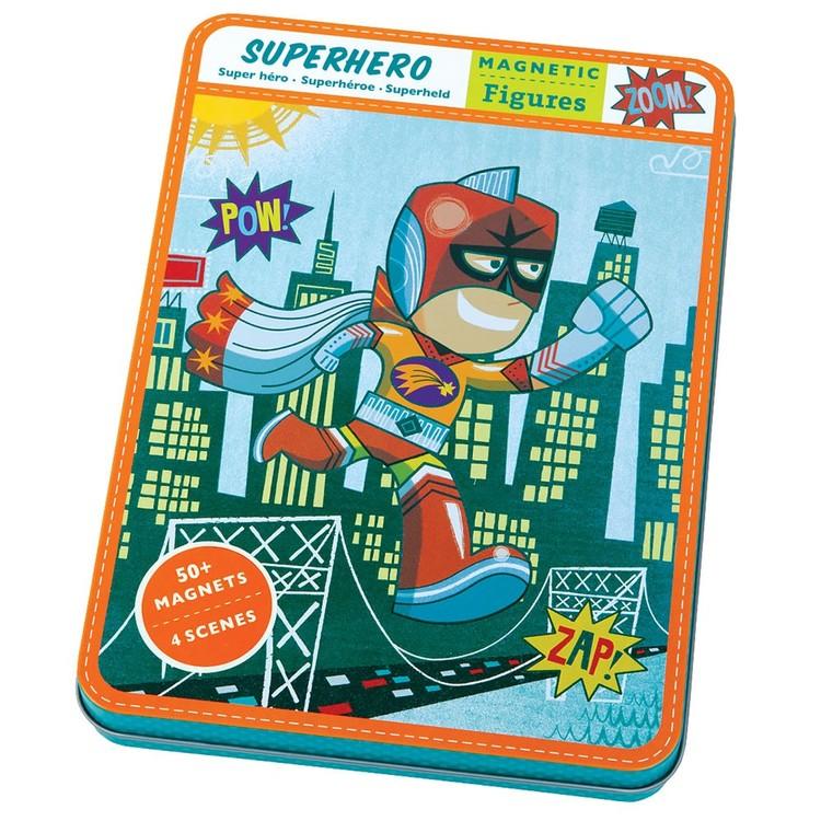 superhjälte  metallåda magnetiska pappdocka klippdocka superhero Mudpuppy