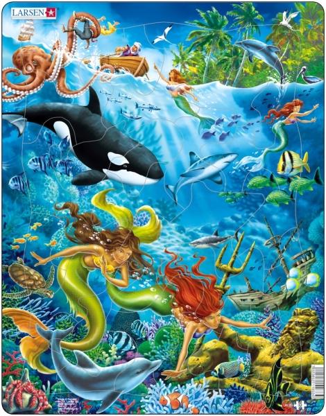 Pussel för barn, sjöjungfrur och undervattensliv från Larsen