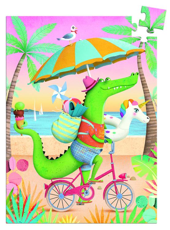 Minipussel - krokodil på väg till stranden (60 bitar) Djeco