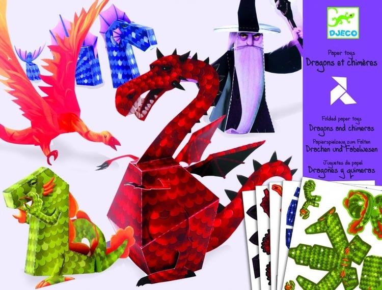 Vik ihop drakar och trollkarlar - Dragons And Chimeras Origami från Djeco
