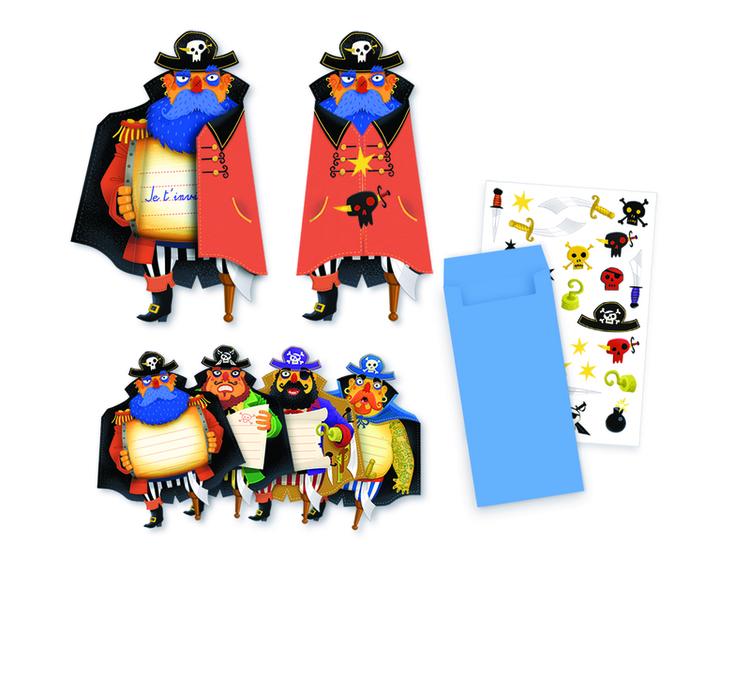 Djeco inbjudningskort barnkalas pirater sjörövare
