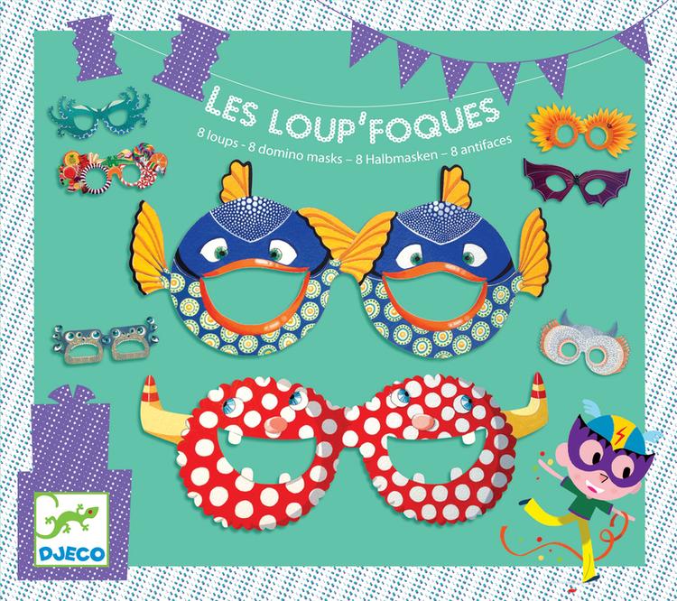 Roliga masker till kalaset (Les Loup foques) från Djeco