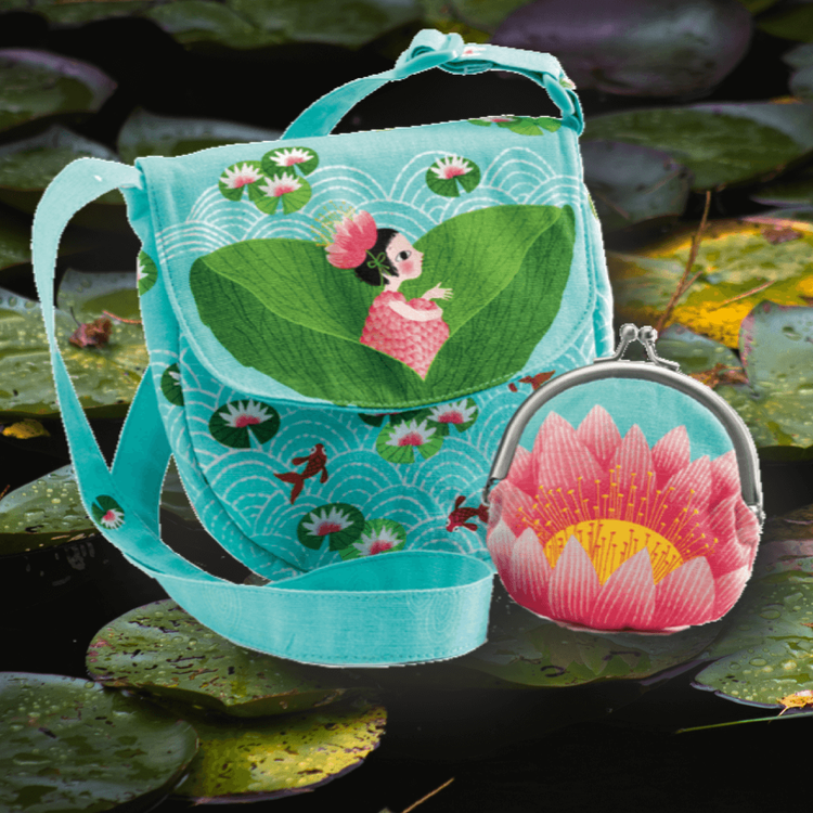 Miss waterlily bag and purse - Söt väska och portmonnä med näckrosor