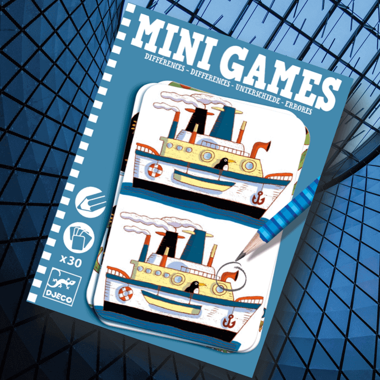 Mini games Differences - Finn 7 fel - Blå från Djeco