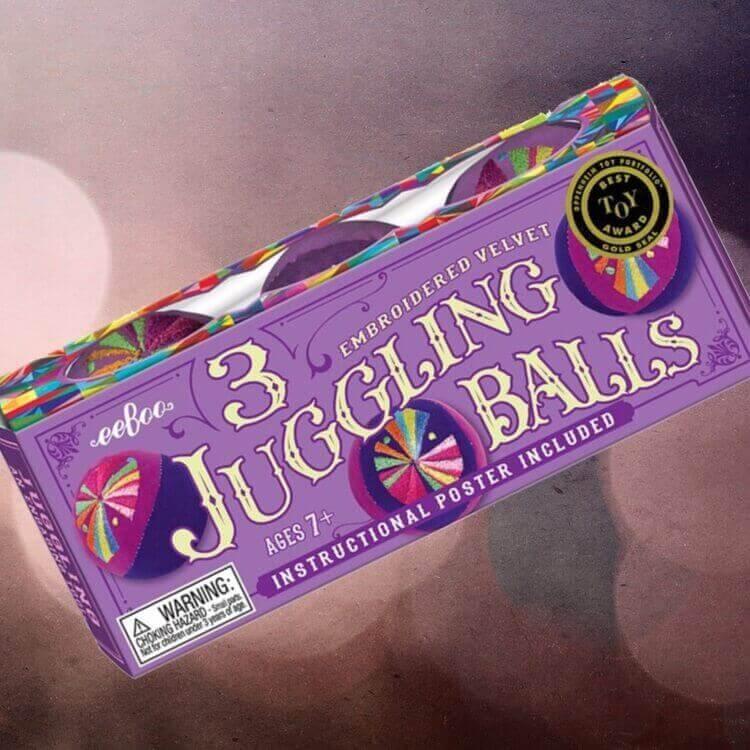 Mjuka jongleringsbollar med instruktioner