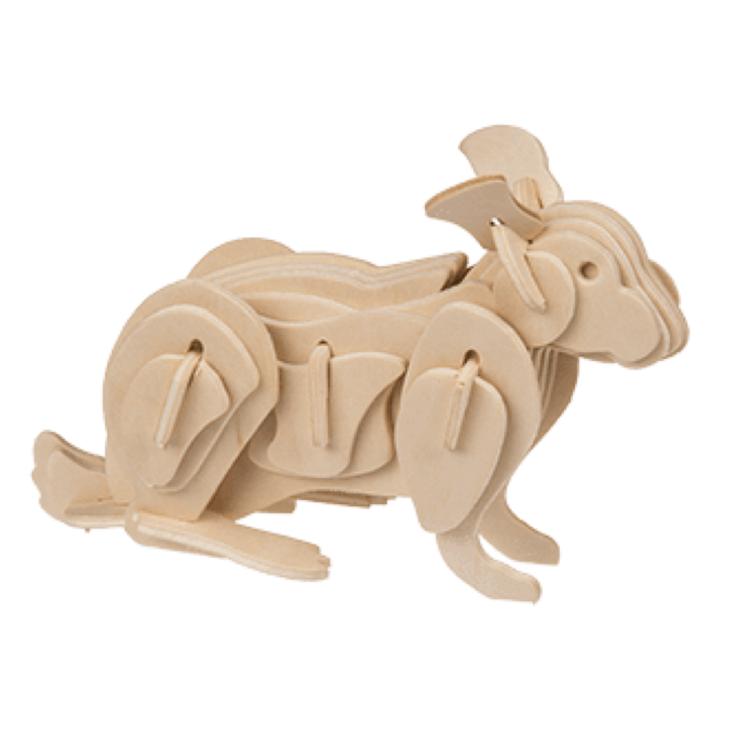Träpussel 3D - Montera ihop en Häst, Hund, Hare eller Gris