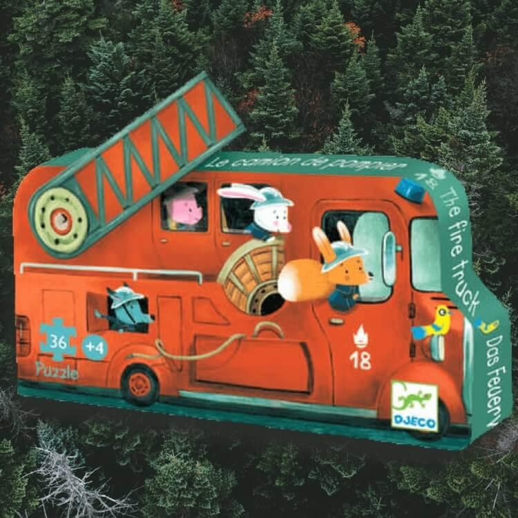 Fire truck - Brandbilspussel från Djeco (16 bitar)