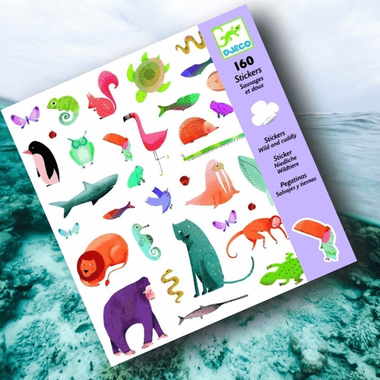 Klistermärken - Vilda och mysiga djur (Stickers, Wild and cuddle) från Djeco