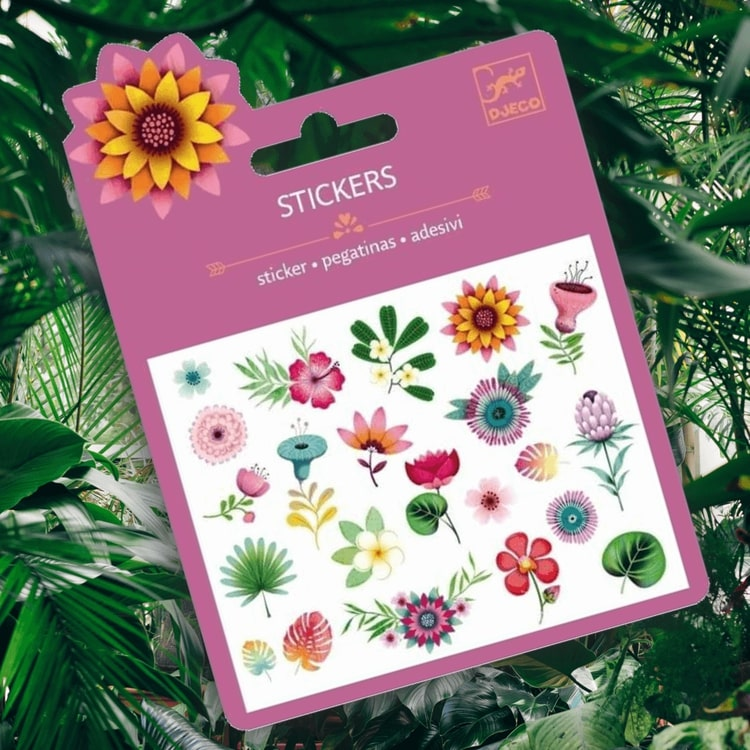Mini Stickers Glitter - Tropical flowers från Djeco