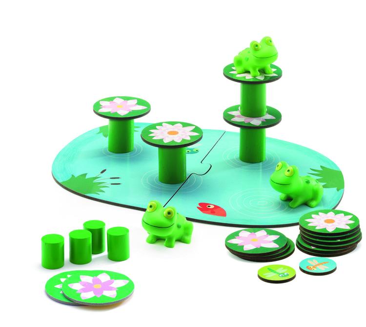Spel för de minsta (Balancing) med grodor från Djeco