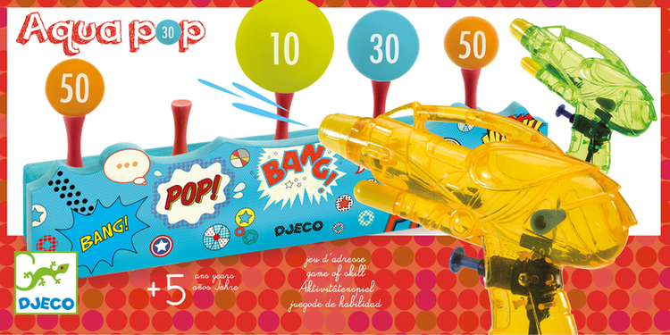 Skjut prick på bollarna med vattenpistoler