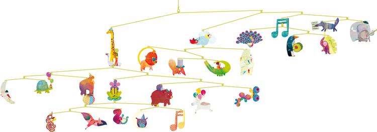 Härlig mobil med djurparad (Carneval of animals) från Djeco